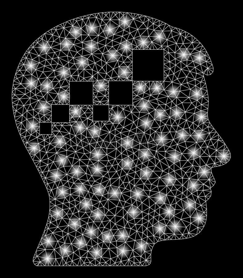 Яркий мозг Blockchain ячеистой сети со светлыми пятнами иллюстрация штока