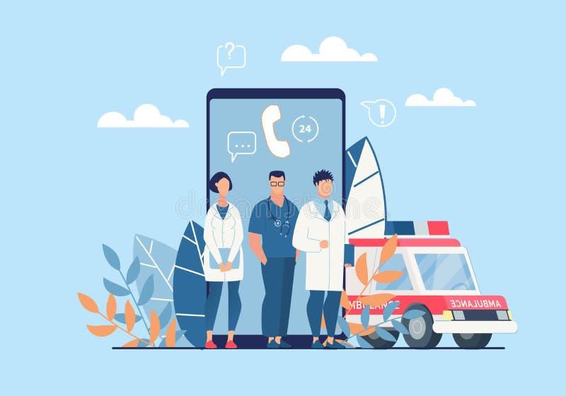 Яркий мультфильм применения машины скорой помощи плаката плоско иллюстрация штока