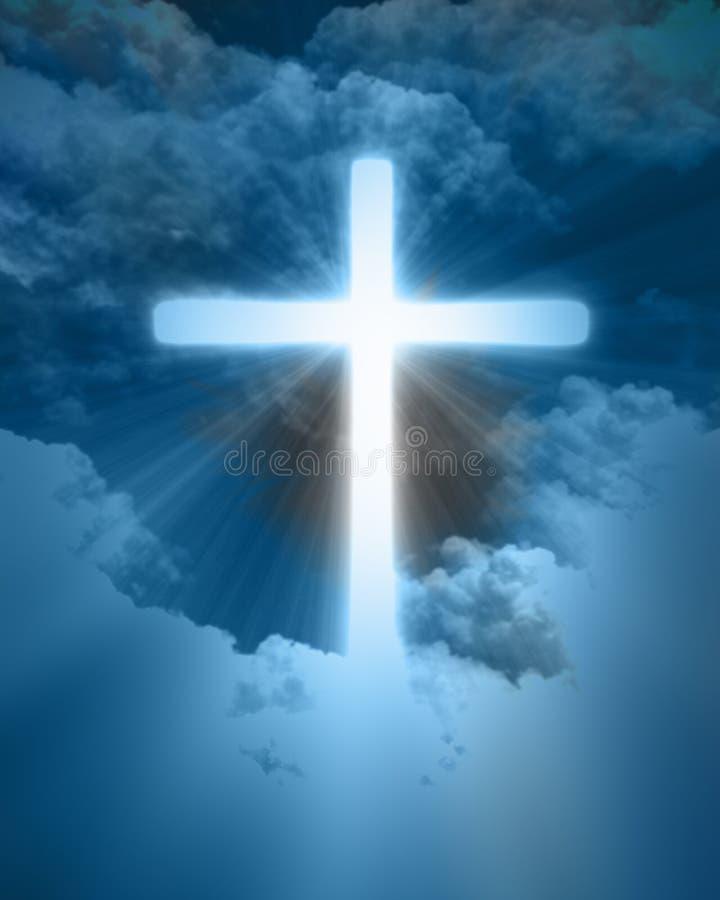 Яркий накаляя крест иллюстрация штока
