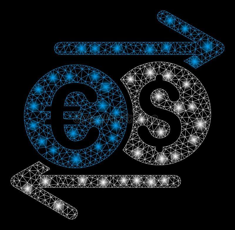 Яркий обмен валюты рамки провода сетки с внезапными пятнами иллюстрация штока