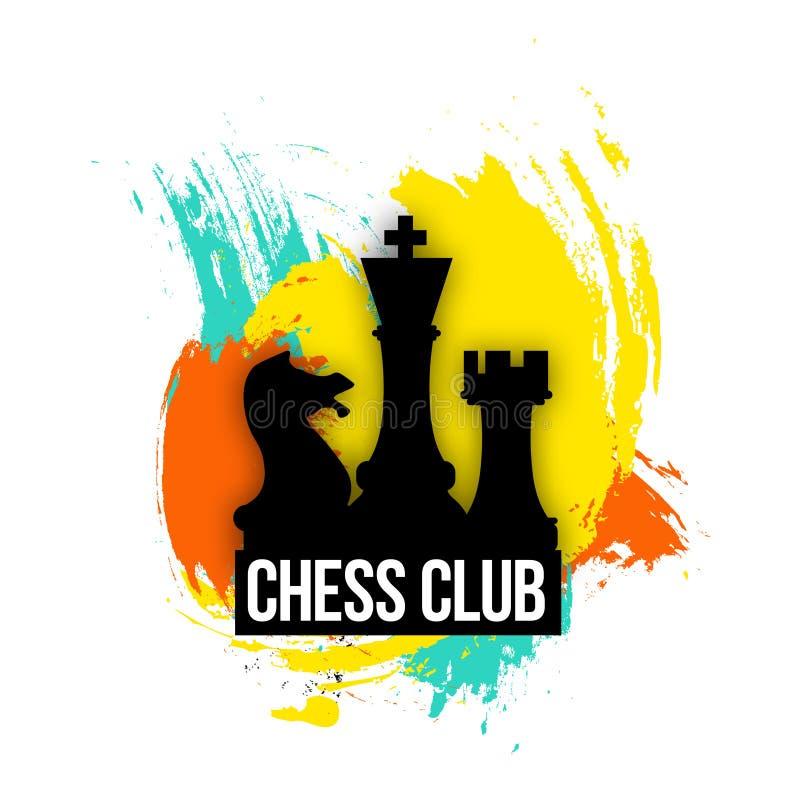 Яркий логотип для компаний, клуба или игрока шахмат Иллюстрация вектора эмблемы на красочной предпосылке иллюстрация вектора