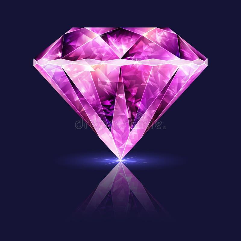 Яркий лоснистый розовый рубин драгоценной камня иллюстрация штока