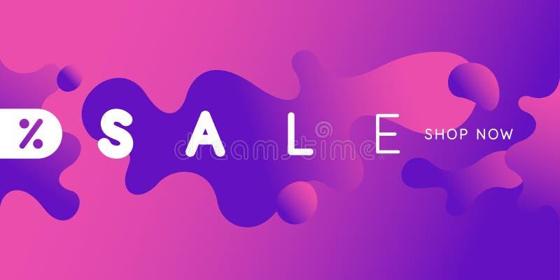 Яркий плакат продажи с динамикой брызгает Иллюстрация вектора в минимальном стиле иллюстрация штока