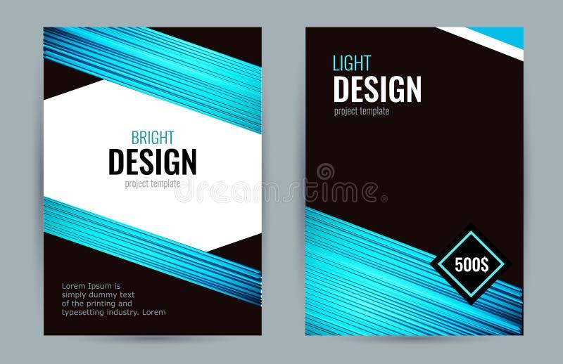 Яркий плакат с голубыми линиями на темной предпосылке Установленный вертикальный b иллюстрация штока