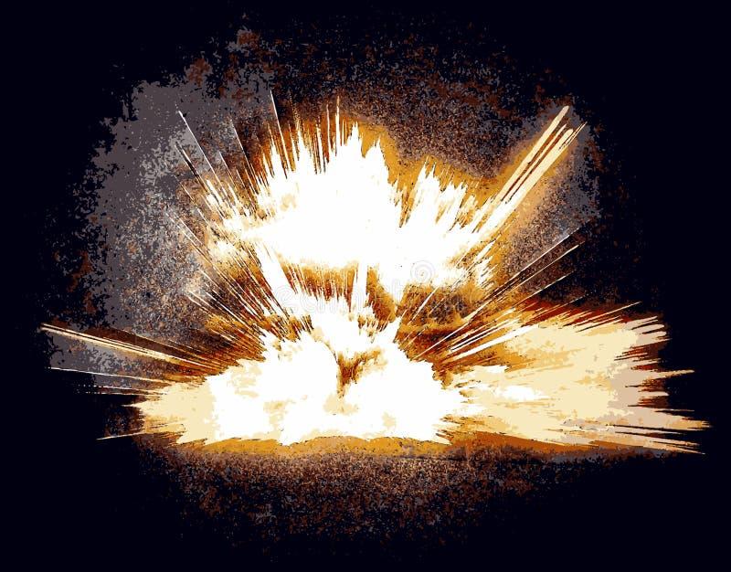 Яркий пламенистый взрыв против черной предпосылки стоковое фото rf