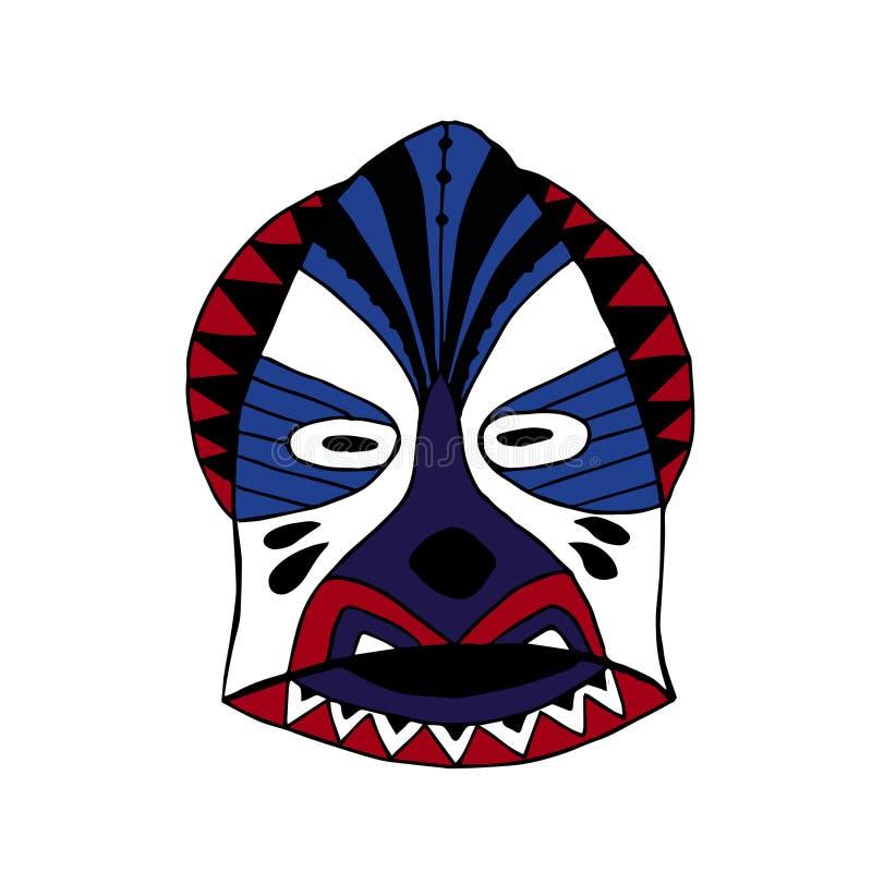Яркий покрашенный лицевой щиток гермошлема для ритуального стиля шаржа иллюстрация вектора