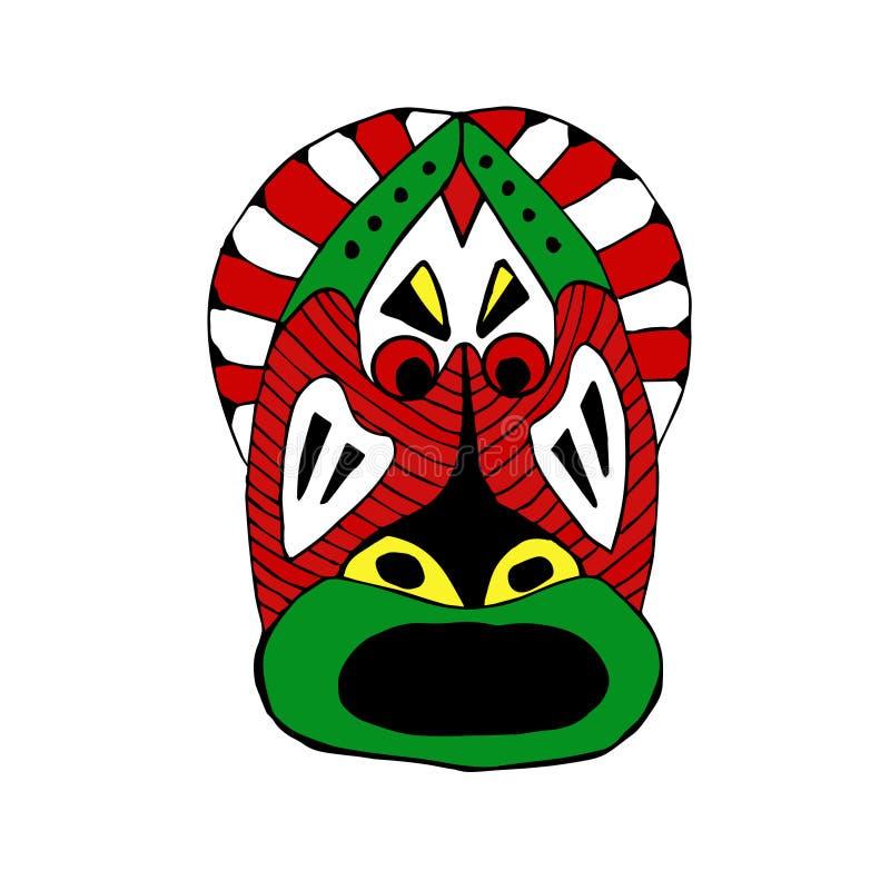 Яркий покрашенный лицевой щиток гермошлема для ритуального стиля шаржа иллюстрация штока