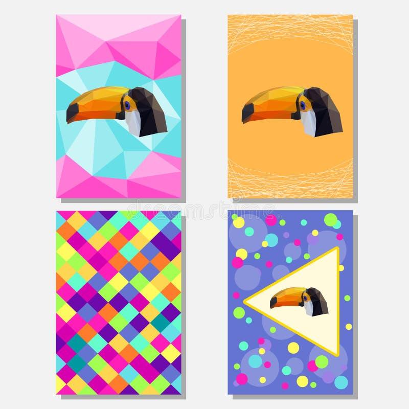 Яркий покрашенный комплект с геометрическое toucan для пользы в дизайне для карточки, плаката, знамени, плаката, брошюр или крышк бесплатная иллюстрация