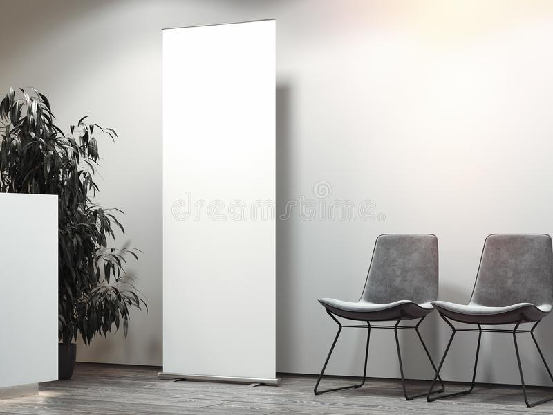 Яркий прием офиса с местом ожидания и белые пустые свертывают вверх перевод 3d иллюстрация вектора