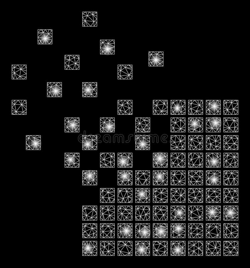 Яркий провод сетки обрамляет растворяя мозаику пиксела с внезапными пятнами иллюстрация вектора