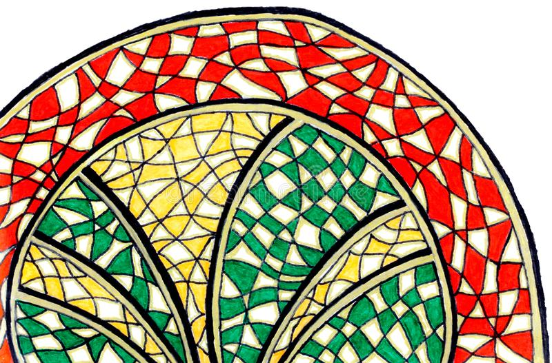 Яркий рисовать руки красочной сделанной по образцу полуокружности иллюстрация штока