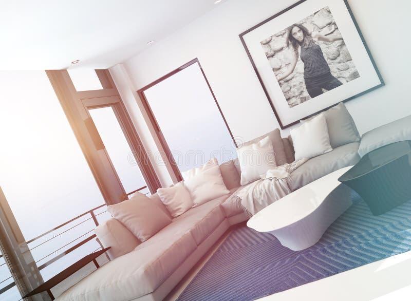 Яркий светлый интерьер гостиной искупанный в солнце иллюстрация штока