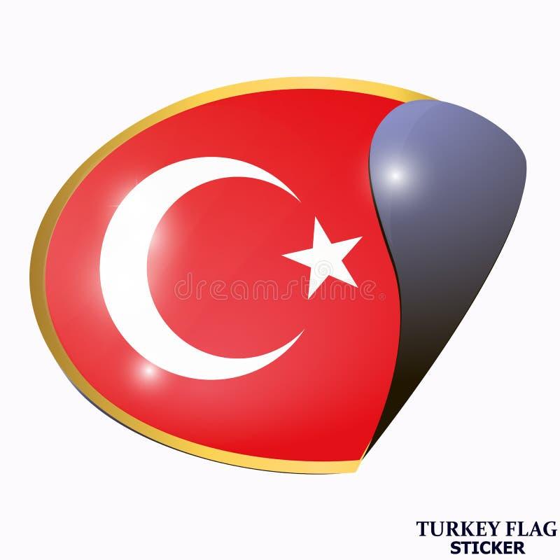 Яркий стикер с флагом Турции Счастливая предпосылка дня Турции иллюстрация штока