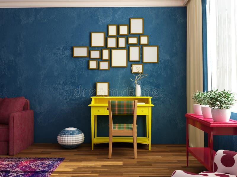 Яркий, уютный, комната моды современная siiting с местом работы, софой, креслом иллюстрация вектора