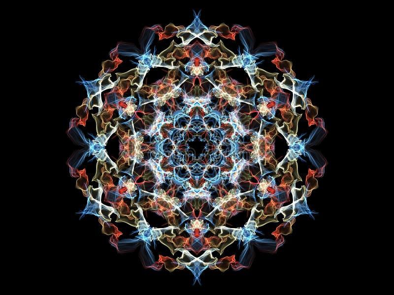 Яркий цветок в цветах зимы, орнаментальный круг p мандалы пламени бесплатная иллюстрация