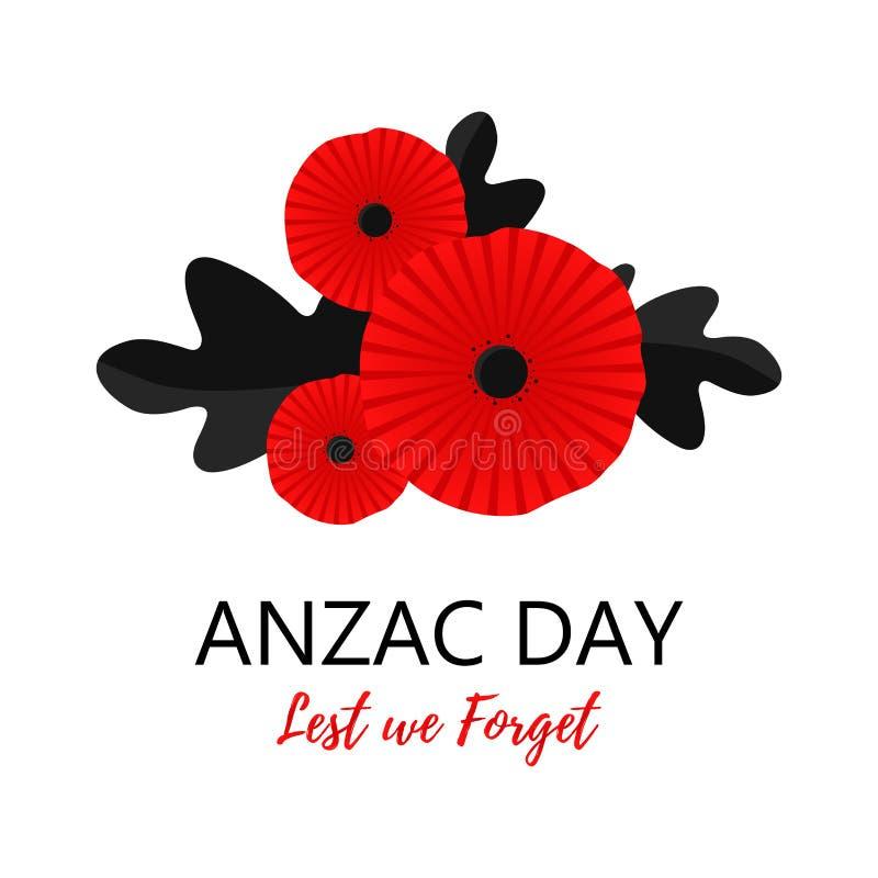 Яркий цветок мака Символ дня памяти погибших в первую и вторую мировые войны Чтобы мы забываем литерность Литерность дня Anzac бесплатная иллюстрация