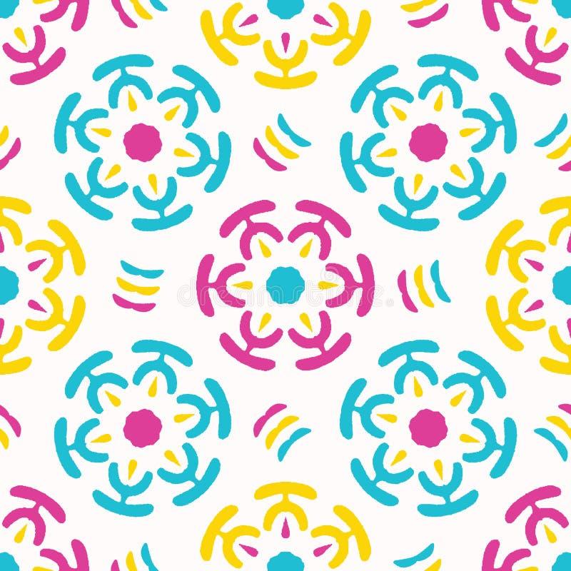 Яркий цветок маргаритки лета зацветает безшовная картина vectpr Стилизованное геометрическое флористическое на всем печать Круги  иллюстрация вектора