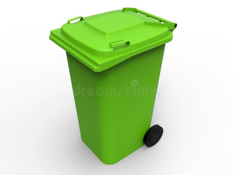 Яркий ый-зелен мусорный бак иллюстрация вектора