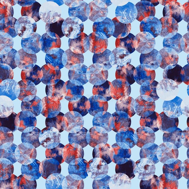 Яркий grunge конспекта точки польки красочный брызгает дизайн картины акварели текстуры безшовный в сини, фиолетовой стоковое изображение