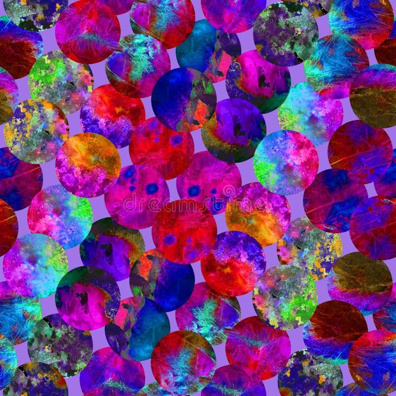 Яркий grunge конспекта точки польки красочный брызгает дизайн картины акварели текстуры безшовный в красной, голубой, зеленый, пи иллюстрация штока
