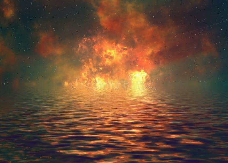 Яркое отражение вспышки взрыва в волнах воды иллюстрация штока