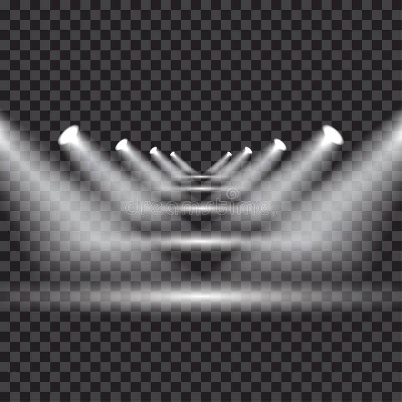 Яркое прозрачное освещение с фарами на различном низком леве стоковое изображение rf