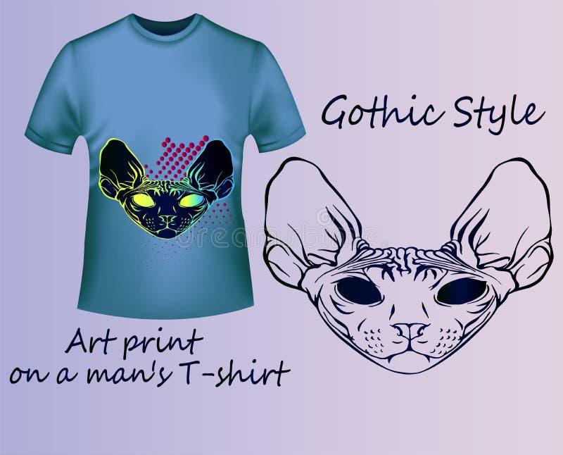 Яркое рыльце кота Sphynx на голубой футболке бесплатная иллюстрация
