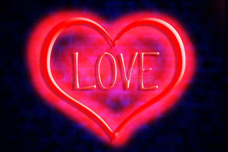 Яркое сердце и неоновая любовь надписи на предпосылке кирпичной стены День ` s валентинки, предпосылка дня ` s матери бесплатная иллюстрация