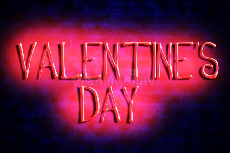 Яркое сердце и неоновый день Валентайн надписи на предпосылке кирпичной стены День ` s валентинки, предпосылка дня ` s матери иллюстрация штока