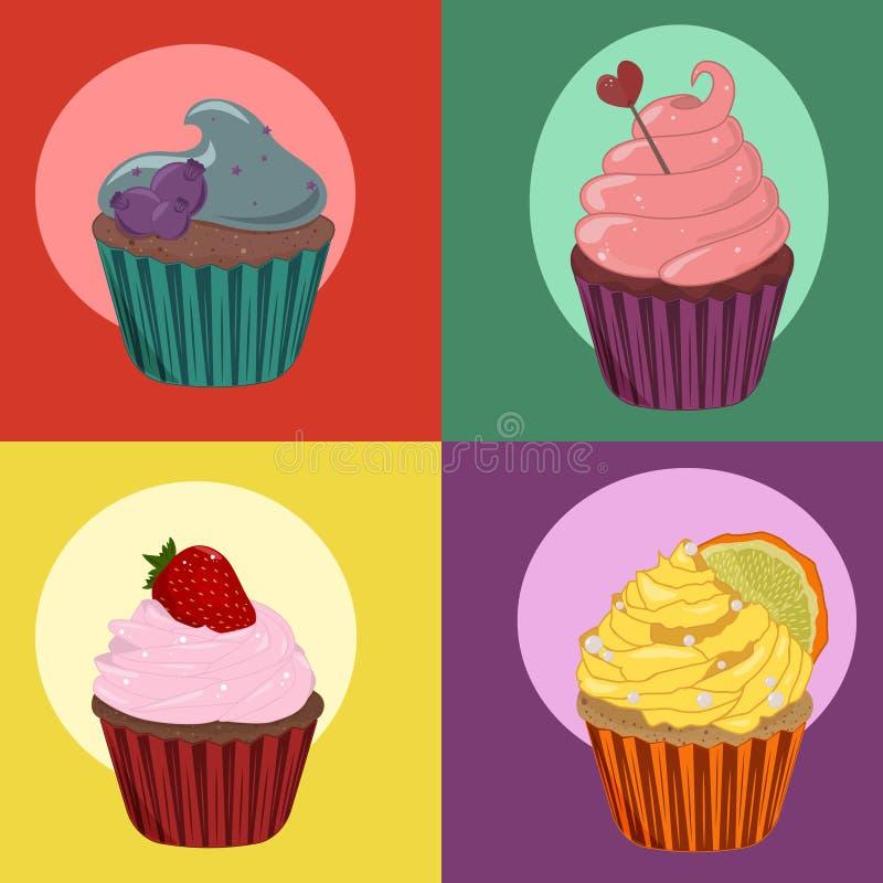 Яркое собрание сладостных тортов стоковое изображение
