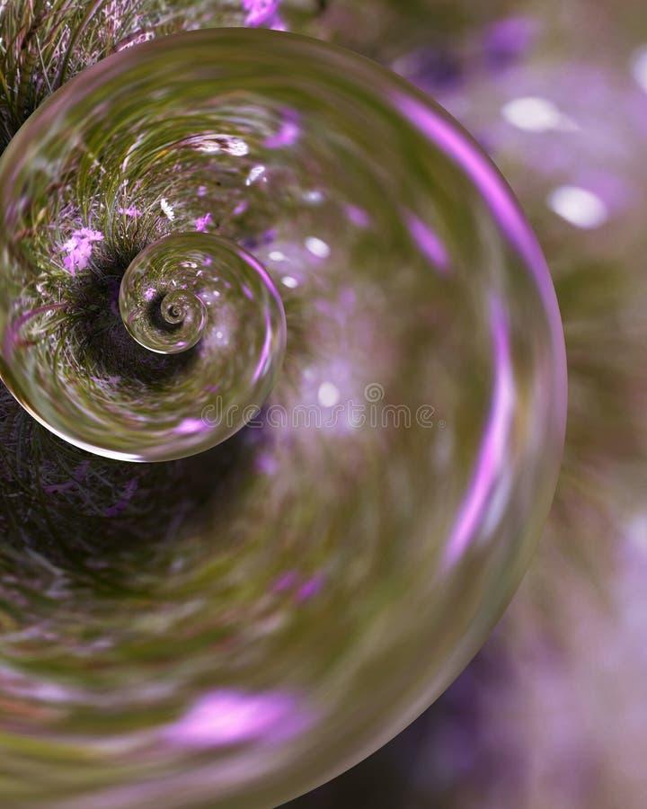 Яркое snailfrom в пинке, который нужно коричневеть! Естественный луг - компьютер произвел - преобразованный в привлекательную стр стоковые изображения rf