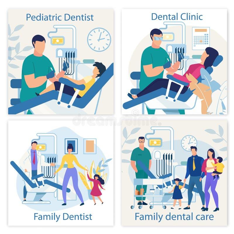 Яркому знамени пишут педиатрический дантиста плоско иллюстрация штока