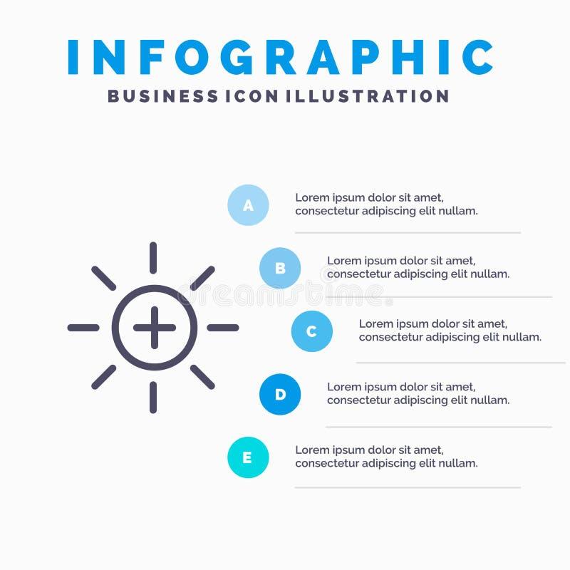Яркость, интерфейс, Ui, линия потребителя значок с предпосылкой infographics представления 5 шагов иллюстрация штока