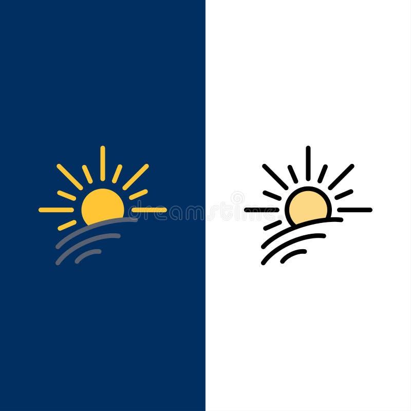 Яркость, свет, Солнце, значки весны Квартира и линия заполненный значок установили предпосылку вектора голубую бесплатная иллюстрация