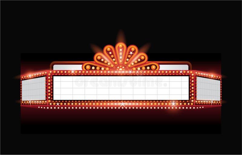 Ярко неоновая вывеска кино театра вектора накаляя ретро иллюстрация вектора