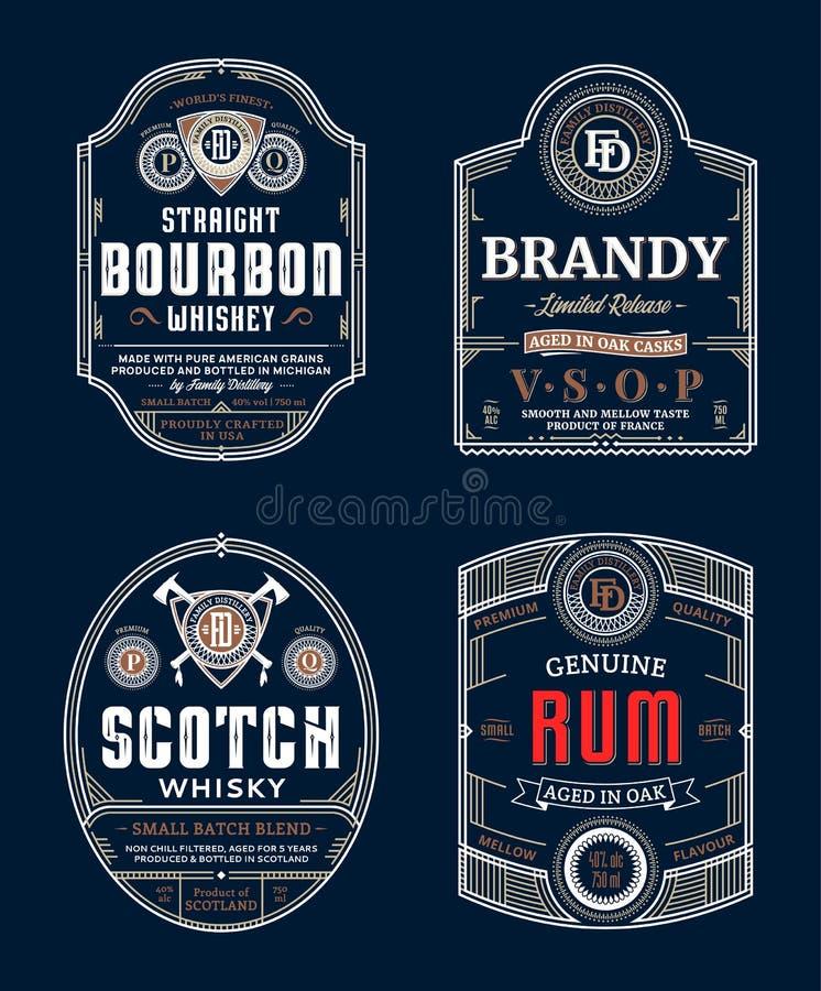 Ярлыки алкогольных напитков иллюстрация штока