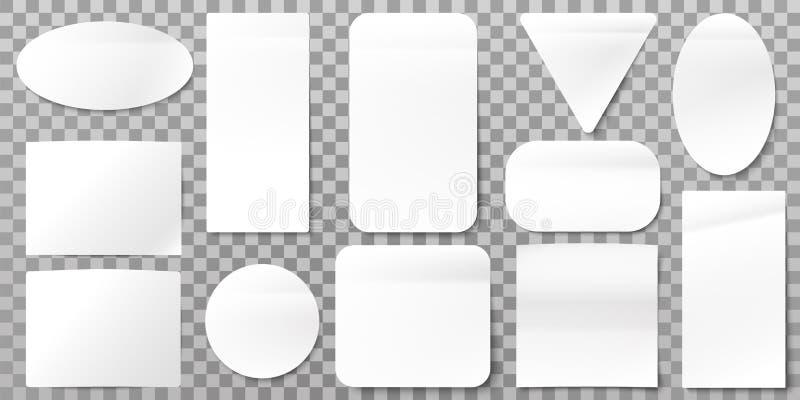 Ярлыки белой бумаги Пустые стикеры ярлыка, липкие бирки бумаг и набор вектора форм знака иллюстрация штока