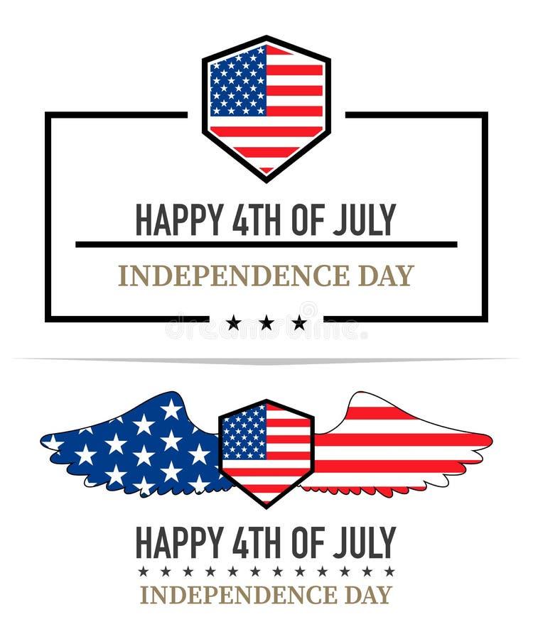 Ярлыки Дня независимости, иллюстрация вектора на белом backgrou бесплатная иллюстрация