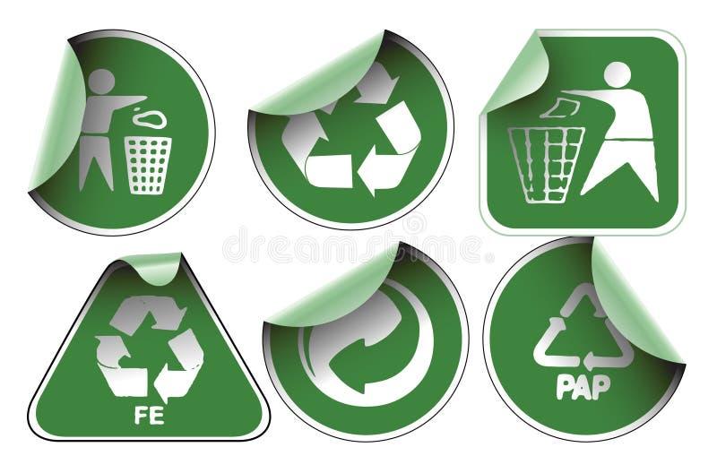 ярлыки зеленого цвета рециркулируют комплект бесплатная иллюстрация