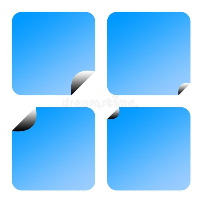Ярлыки или стикеры сини иллюстрация вектора