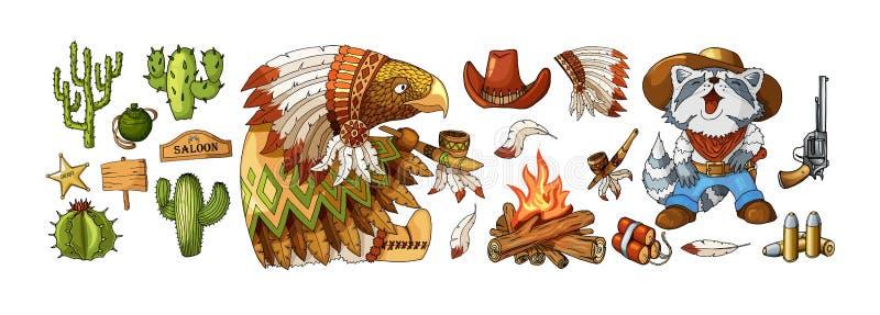 Ярлыки ковбоя и Дикого Запада вектора установленные и элементы стикера в стиле мультфильма бесплатная иллюстрация