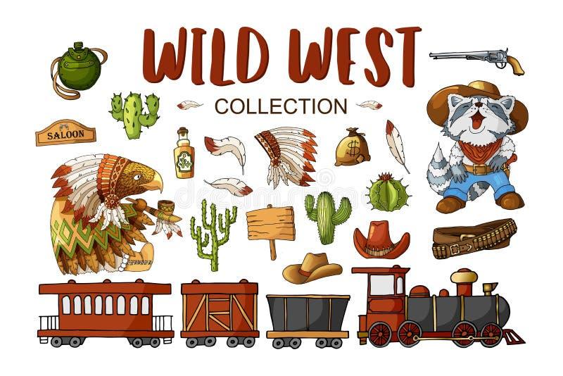Ярлыки ковбоя и Дикого Запада вектора установленные и элементы стикера в стиле мультфильма иллюстрация штока