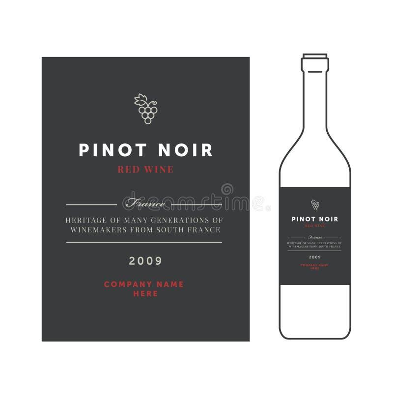 Ярлыки красного вина Комплект шаблона вектора наградной Чистый и современный дизайн Вид виноградины Pinot noir иллюстрация вектора