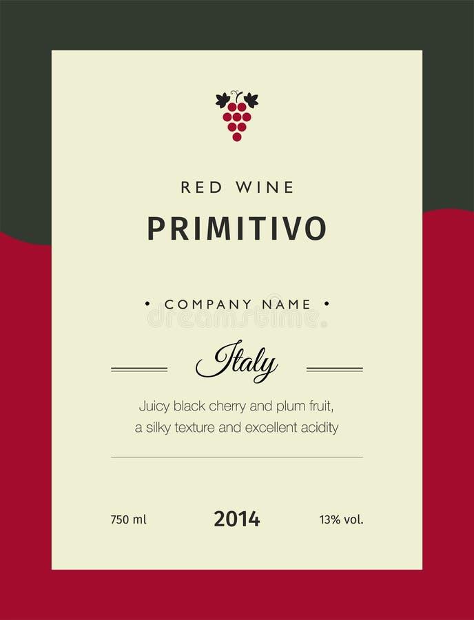 Ярлыки красного вина Комплект шаблона вектора наградной Чистый и современный дизайн Ярлык Primitivo красного вина Италии иллюстрация штока