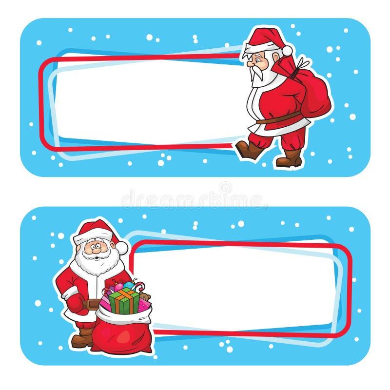 Ярлыки Кристмас с Санта Клаус бесплатная иллюстрация