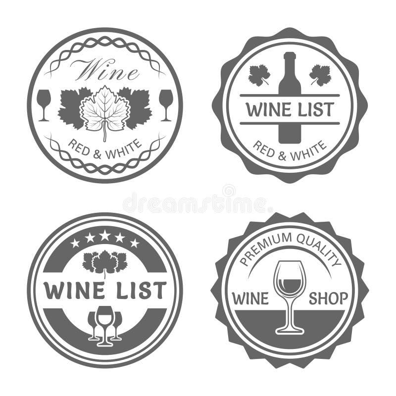 Ярлыки круга вектора винного магазина monochrome винтажные иллюстрация штока