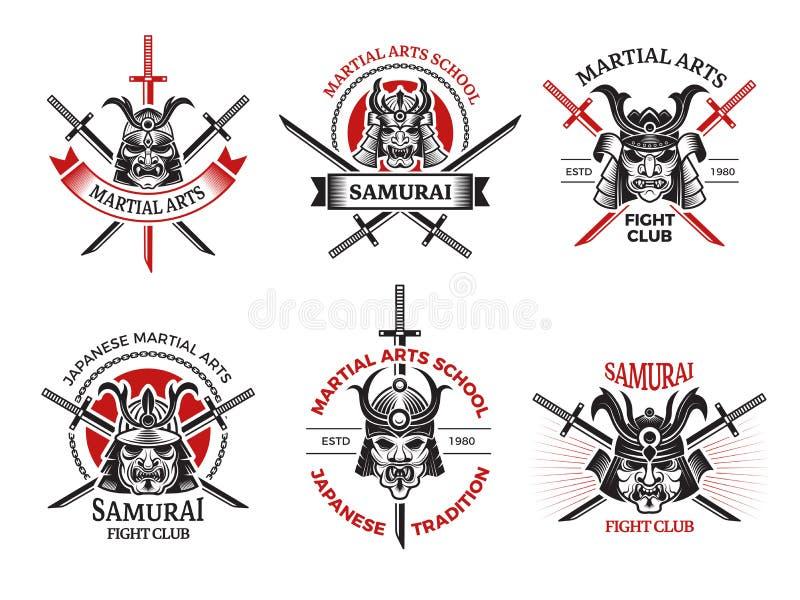 Ярлыки маски самурая Стороны Японии сердитые для вектора панцыря воина обозначают дизайн-проекты логотипа татуировки иллюстрация штока