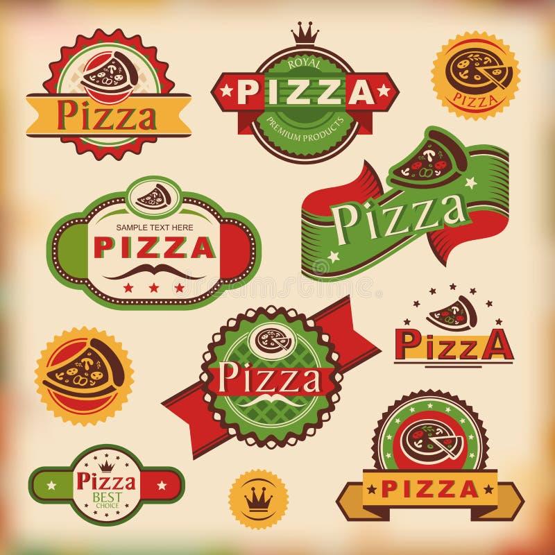 Ярлыки пиццы сбора винограда иллюстрация вектора