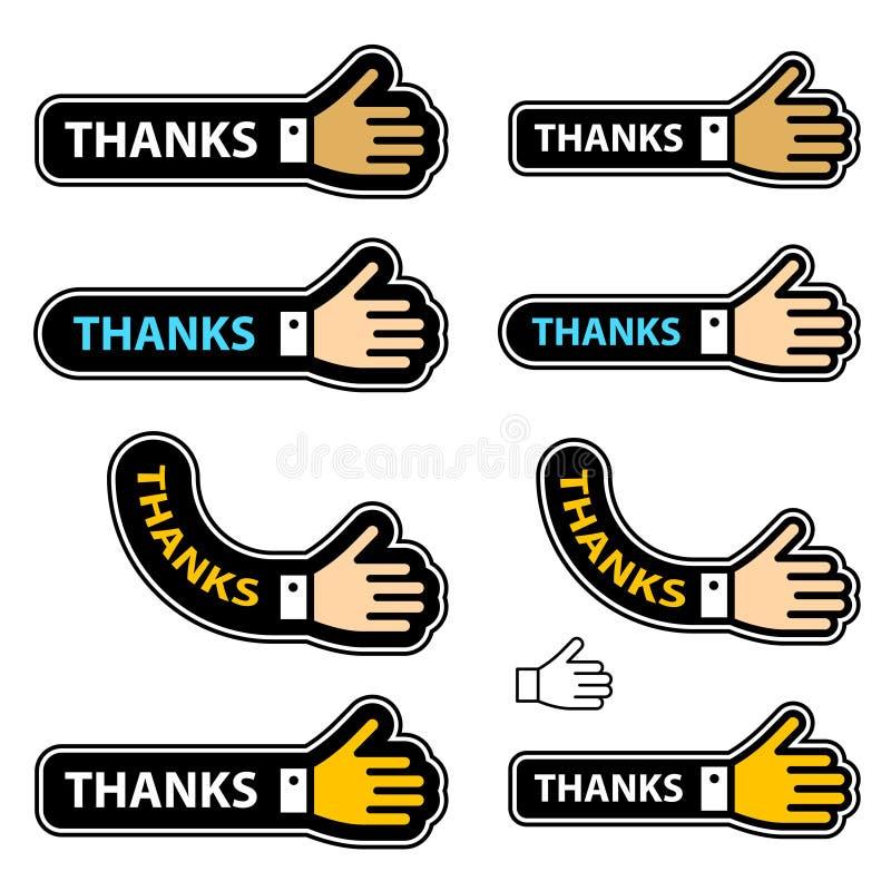 ярлыки руки трястиют спасибо иллюстрация штока