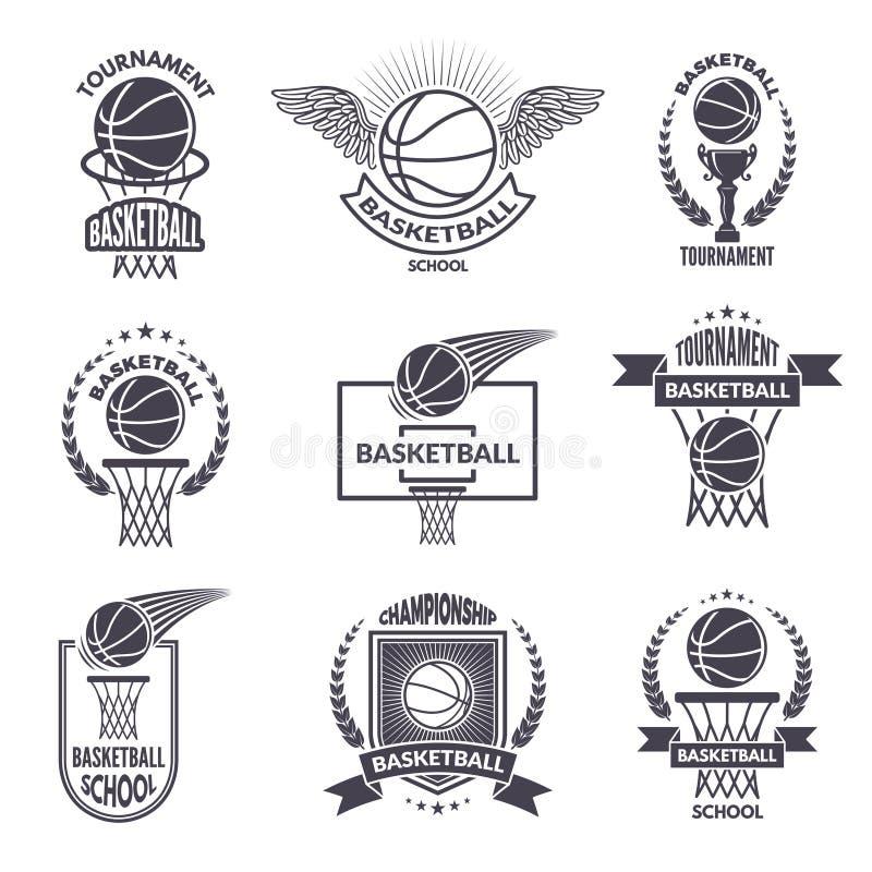 Ярлыки спорта для клуба баскетбола Значки вектора для чемпионов иллюстрация штока